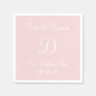 Monogram Pale Pink Classy Complementary Color Paper Napkin