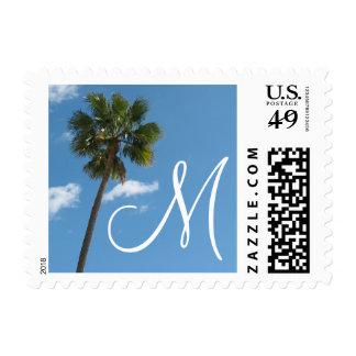 monogram Palm Trees Postage