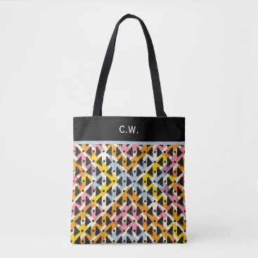 Aztec Themed Monogram paperchain yellow blue pink weave tote bag