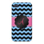 Monogram pastel blue and black chevrons iPhone 4/4S cases
