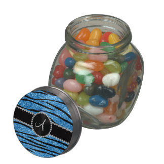 Monogram pastel blue glitter zebra stripes circle glass jar
