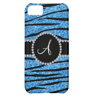 Monogram pastel blue glitter zebra stripes circle case for iPhone 5C