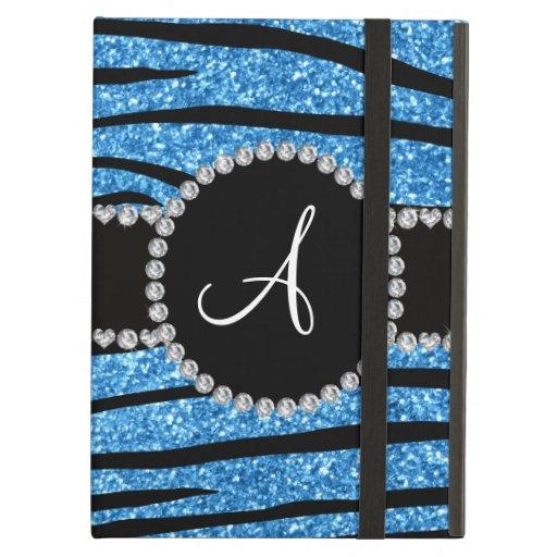 Monogram pastel blue glitter zebra stripes circle iPad air cover