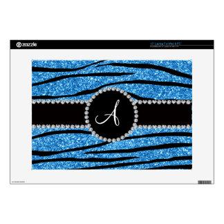 Monogram pastel blue glitter zebra stripes circle skin for laptop