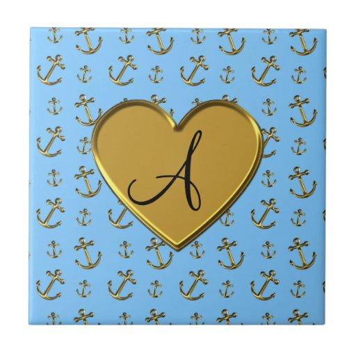 Monogram pastel blue gold anchors heart small square tile