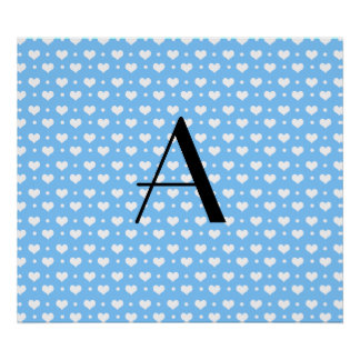 Monogram pastel blue hearts polka dots poster