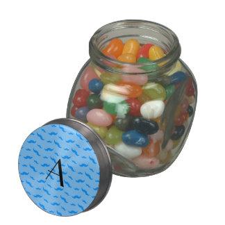 Monogram pastel blue mustache pattern glass candy jars