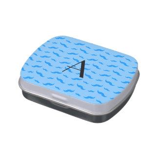 Monogram pastel blue mustache pattern jelly belly tin