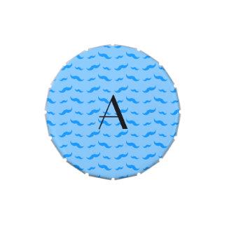 Monogram pastel blue mustache pattern jelly belly candy tins