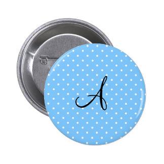 Monogram pastel blue white polka dots buttons