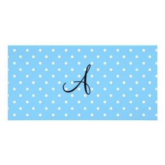 Monogram pastel blue white polka dots photo card