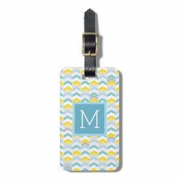 monogram_bouquet Monogram   Pastel Blue & Yellow Herringbone Luggage Tag