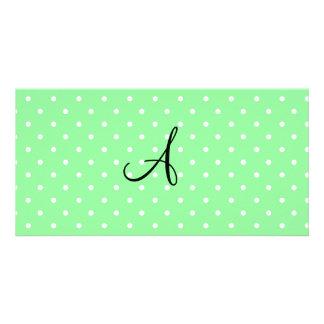 Monogram pastel green white polka dots customized photo card