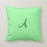 Monogram pastel green white polka dots pillows