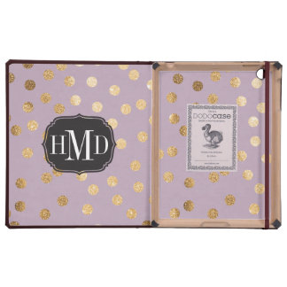 Monogram Pastel Lilac and Gold Glitter City Dots
