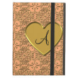 Monogram pastel orange gold morrocan damask iPad cases