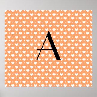 Monogram pastel orange hearts polka dots posters