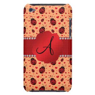Monogram pastel orange ladybugs hearts Case-Mate iPod touch case