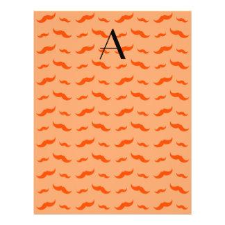 """Monogram pastel orange mustache pattern 8.5"""" x 11"""" flyer"""