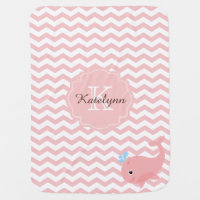 Monogram Pastel Pink Whale Custom Baby Blanket