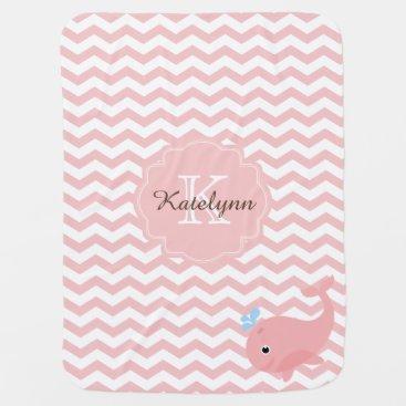 Toddler & Baby themed Monogram Pastel Pink Whale Custom Baby Blanket