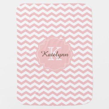 Toddler & Baby themed Monogram Pastel Pink Zigzag Custom Baby Blanket