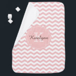 """Monogram Pastel Pink Zigzag Custom Baby Blanket<br><div class=""""desc"""">Cute pastel pink chevron zigzag pattern and custom monogram baby blanket.  Perfect as a stroller blanket and on the go.  Makes a great gift for all occasions.  Select the """"Customize It"""" button to change the text size,  text color,  font style and more!</div>"""