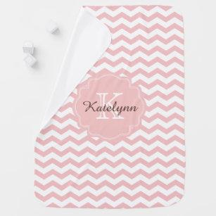 Monogram baby clothes apparel zazzle monogram pastel pink zigzag custom baby blanket negle Gallery