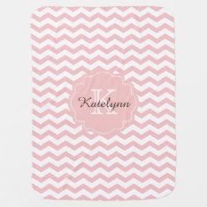 Monogram Pastel Pink Zigzag Custom Baby Blanket at Zazzle