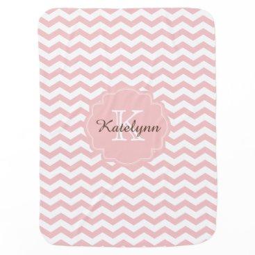 theburlapfrog Monogram Pastel Pink Zigzag Custom Baby Blanket