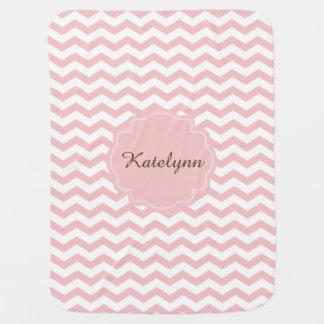 Monogram Pastel Pink Zigzag Custom Baby Blanket