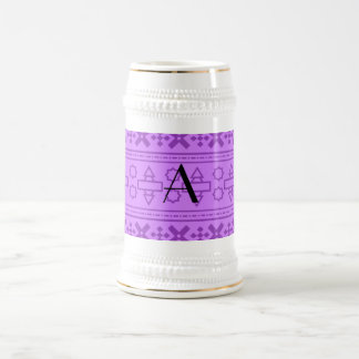 Monogram pastel purple aztec pattern coffee mugs