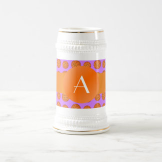 Monogram pastel purple basketballs coffee mug