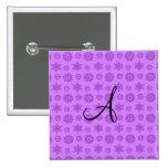 Monogram pastel purple christmas stars snowflakes 2 inch square button