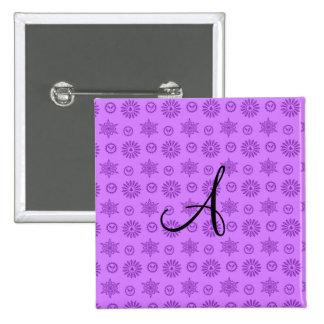 Monogram pastel purple christmas stars snowflakes pins