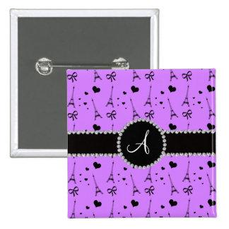 Monogram pastel purple eiffel tower pattern 2 inch square button