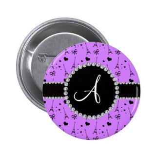Monogram pastel purple eiffel tower pattern 2 inch round button
