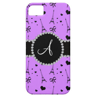 Monogram pastel purple eiffel tower pattern iPhone SE/5/5s case