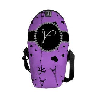 Monogram pastel purple eiffel tower pattern messenger bag