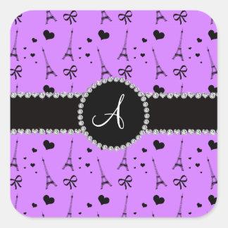 Monogram pastel purple eiffel tower pattern square sticker