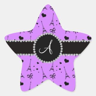 Monogram pastel purple eiffel tower pattern star sticker