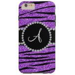 Monogram pastel purple glitter zebra stripes tough iPhone 6 plus case