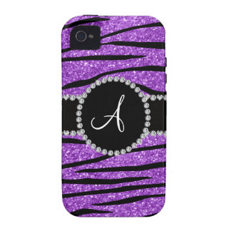 Monogram pastel purple glitter zebra stripes vibe iPhone 4 covers