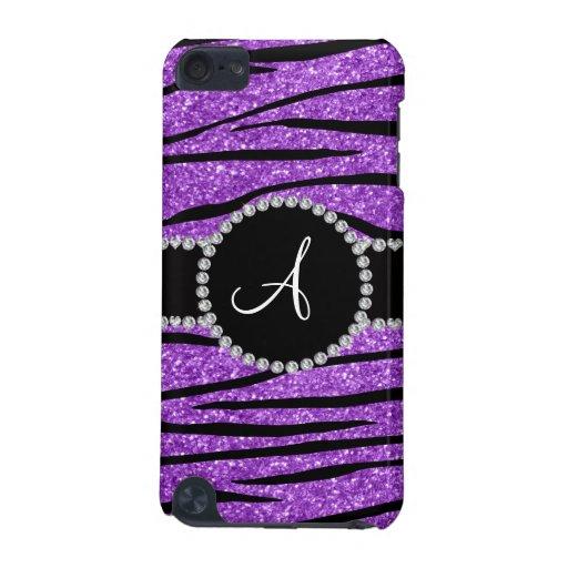 Monogram pastel purple glitter zebra stripes iPod touch (5th generation) case