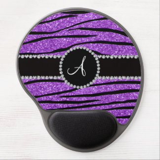 Monogram pastel purple glitter zebra stripes gel mouse pad