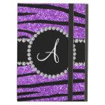 Monogram pastel purple glitter zebra stripes iPad air cases