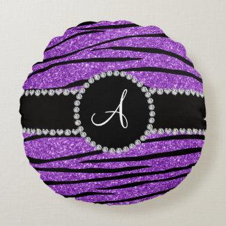 Monogram pastel purple glitter zebra stripes round pillow