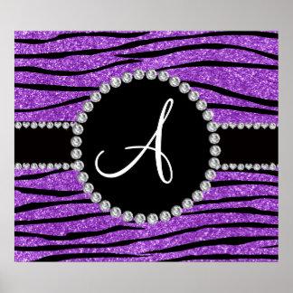 Monogram pastel purple glitter zebra stripes poster