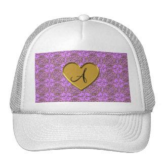 Monogram pastel purple gold moroccan damask trucker hats