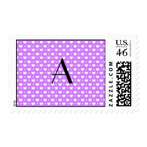 Monogram pastel purple hearts polka dots postage stamps